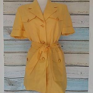 ESCADA Yellow Short Sleeves Linen Top/Dress